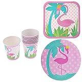 P Prettyia Party Accessoires Set inkl. 16 x Pappteller + 8 x Pappbecher Set mit Flamingo Muster für Party Taufe Hochzeit und Geburtstag