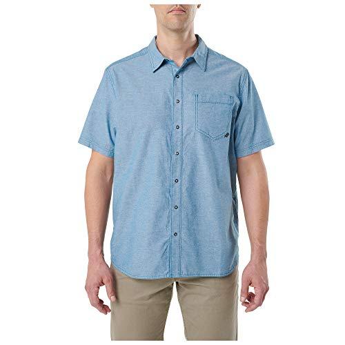 5.11Tactical Herren Ares Kurzarmhemd, Herren, 71372, Lake, Large - 5.11 Holster Shirt