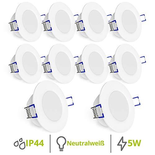 linovum WEEVO IP44 LED Decken Einbauleuchten 10er Set extra flach - Strahler Spot neutralweiß für Bad, Küche, Möbel, Außen -