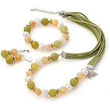 TreasureBay impresionante elegante agua dulce perlas y jade Gemstone Collar, pulsera y pendientes juego de joyería–presentado en una bonita caja de regalo