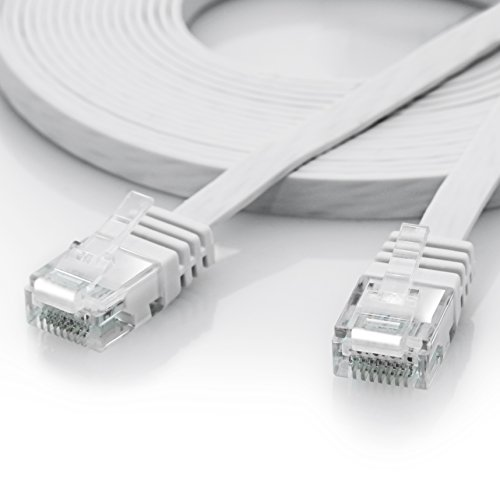 5m - CAT.6 Ethernet Gigabit Lan Netzwerkkabel / Flachbandkabel / Verlegekabel (RJ45) | 10/100/1000Mbit/s | Patchkabel flach | kompatibel zu CAT.5 / CAT.5e / CAT.7 | Switch/Router/Modem/Patchpannel/Access - Pc Mac Und Für Wireless-router
