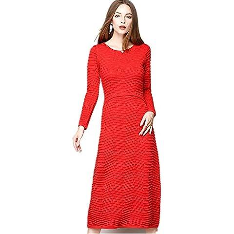 ZZHHH Vestido largo delgado de manga larga de lana tejida señoras . red . m