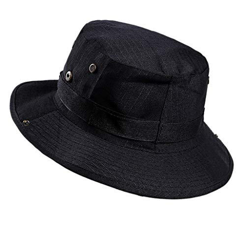 5b71357c chenpaif Men Women Summer Wide Brim UV Protection Bucket Hat Solid Color  Cowboy Foldable Hiking Outdoor