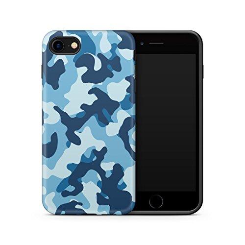 Cujas iPhone 7/8 kompatible Hülle Weiche Camouflage TPU Silikon Schutzhülle Blickdicht mit IMD Technologie Camo Militär Muster Case Schutz Handyhülle (iPhone 7/8 Blau)