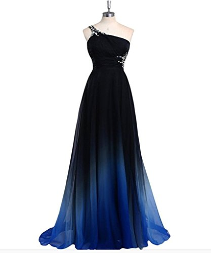 Drasawee - Robe - Taille empire - Femme Black and Royal Blue