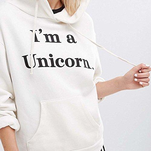 Femme Sweat-shirt à capuche manches longues Licorne Tshirt Sweat à capuche en laine chaud Chemise d'impression de lettre Chemisier à capuche Blanc Rouge Noir S M L XL XXL Hibote Blanc