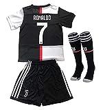 Maglia Calcio per Bambini Ragazzi, Cristiano Ronaldo CR7 Numero 7 Juventus 2018/2019 Home Tuta da Allenamento per Bambino Ragazzo Uniforme da Calcio T-Shirt + Pantaloncini