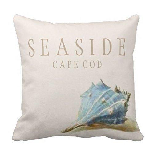 Seashell Überwurf Kissen für Couch Vintage blau easide Cape Cod Home dekoratives Kissen Abdeckung 45,7x 45,7cm auf Leinwand, quadratisch Accent Kissen für Sofa und Couch (Dekorative Kissen-abdeckungen Blau)