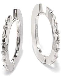 Callegaro Boucles d'Oreilles Femme en Or 18 carats Blanc avec Diamant H/SI (total diamants 0.29 ct), 4.8 Grammes
