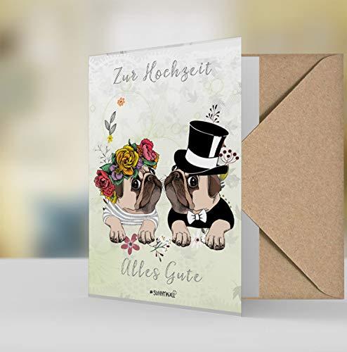 Geschenkkarte Hochzeitskarte Grußkarte Karte pug Mops zur Hochzeit alles Gute