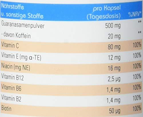 Vihado Guarana Kapseln hochdosiert – natürliches Koffein Tabletten + Vitamine C, E, B12, B6, B2, Biotin, Niacin, gegen Müdigkeit und Ermüdung, 90 Kapseln, 1er Pack (1 x 68,3 g)