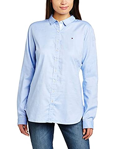 Tommy Hilfiger Jenna - Chemisier - Taille ajustée - Manches longues - Femme - Bleu (Shirt Blue) - FR: 40 (Taille fabricant: 10)