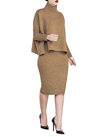 YOUJIA Womens 2pcs Clothing Set High Neck Long Sleeve Shirt Blouse Bodycon Midi Dress Skirts (Brown,