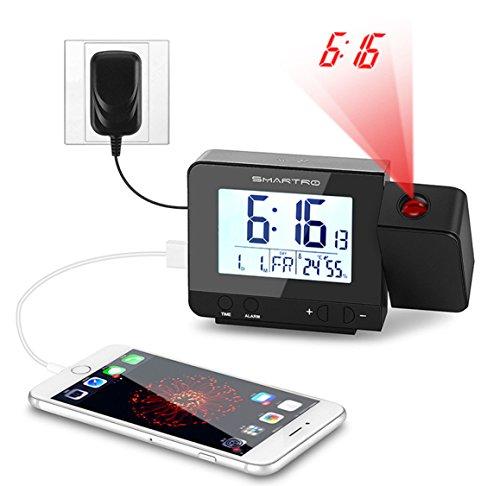 Projektion Wecker, SMARTRO Digital Alarm clock Wetterstation-Taktgeber mit LCD Display, Sensor Licht, Snooze, Dual Alarm, Datumsanzeige, Temperatur und USB Phone Charging