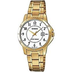 Casio Reloj Dorado con Movimiento Cuarzo japonés Woman LTP+V004G.7B 30 mm