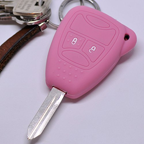 Soft Case Schutz Hülle Auto Schlüssel 2 Tasten Chrysler 300C Voyager Sebring Dodge RAM Nitro Jeep Liberty Commander Grand Cherokee / Farbe Pink