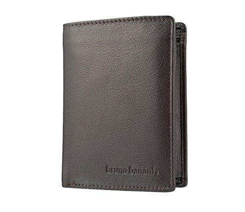 bruno banani Portemonnaie für Männer aus Echt Leder, Herren Portemonee im Hochformat - Braun 3368