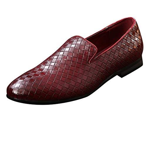 FNKDOR Schuhe Übergroß (37-48) Berufsschuhe Weben Sequin Herren Lederschuhe Atmungsaktiv spitz Geschäft Slip-On Freizeitschuhe Rot 37 EU (Womens Slipon Vans Schuhe)