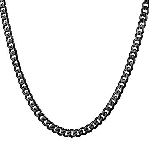 U7 Herren Panzerkette 3mm Schwarz Metall plattiert Halskette Gliederkette Hiphop Biker Rocker Kette Schwarz Ton (Länge 46cm)