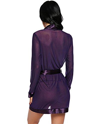 Avidlove Damen Semi-Transparente Spitze Langarm Einfarbig Satin Kimono A Violett