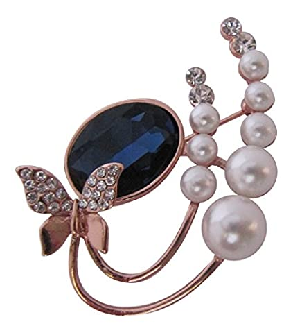 Brooch Boutique Rose Gold Small Butterfly Sapphire Stoned Pearl Brooch