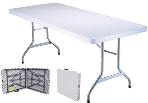 Tavolo Tavolino pieghevole richiudibile in dura resina 183x76xH72 cm per sagra campeggio fiera casa da giardino buffet piedi in ferro