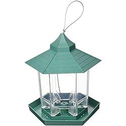 Pets'All Mirador y comedor de aves en el jardín. Hermosa decoración para su jardín, el comedero de pájaros glorieta atrae a las aves y pueden comer y descansar al mismo tiempo, te dan las gracias con su canto