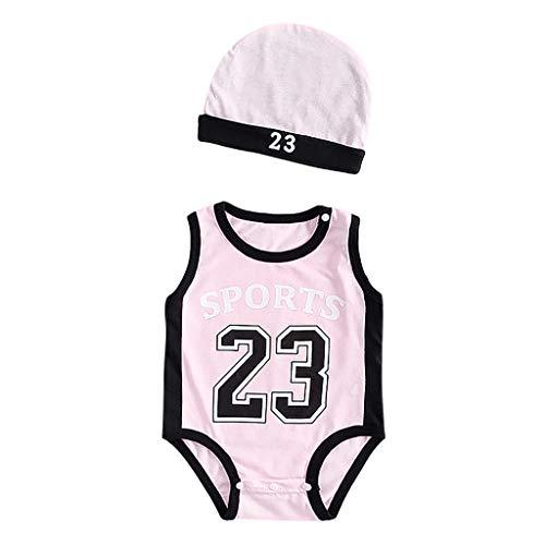 Yuan  Toddler Kids Baby Boys 23 Print Exercise Sleeveless Romper Cap Bodysuit Outfits Ärmellose Sportkleidung mit der Nummer 23 des Jungen + Mütze