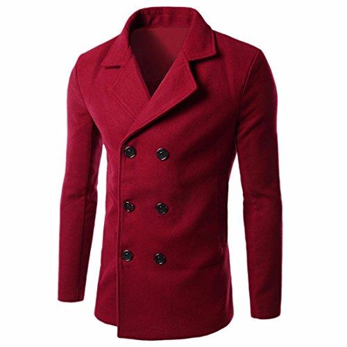QIYUN.Z Laine À Double Boutonnage De Mode Manteau De Pois Vêtements Mince Pardessus Les Hommes Rouge