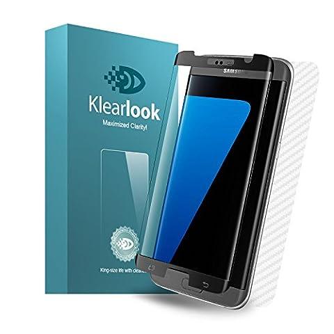 Samsung Galaxy S7 Edge Panzerglas, Klearlook S7 Edge Schutzfolie, Schwarz   Hülle Freundlich   Rand Abdecken, 100% HD, 9H Anti Kratz, Blasenfrei   1x Display Harterglas, Gabe: 1x kohlefaser Rückseit