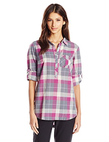 Columbia Sportswear Women's Coral Springs II Woven Long Sleeve Shirt, Grey Ash Plaid, X-Small (Plaid Sleeve Shirt Woven Long)