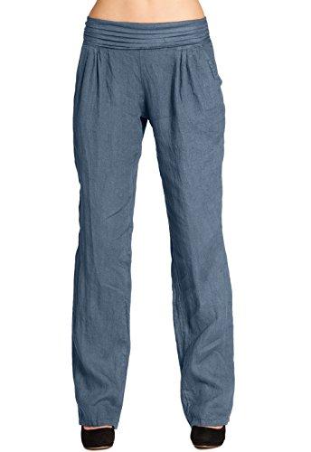CASPAR KHS020 Damen Leinen Hose, Farbe:blau;Größe:3XL - DE46 UK18 IT50 ES48 US16
