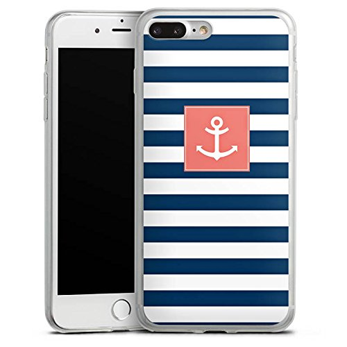 Apple iPhone 8 Slim Case Silikon Hülle Schutzhülle Anker Streifen Maritim Silikon Slim Case transparent