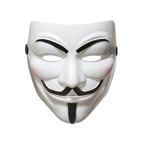 Whobabe 990222 V for Vendetta Anonymus-Maske, Guy Fawkes-Halloweenmaske, Unisex, für Erwachsene, weiß, ()