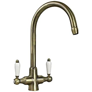 Astini Colonial Antique Bronze & White Ceramic Handle Kitchen Sink Mixer Tap
