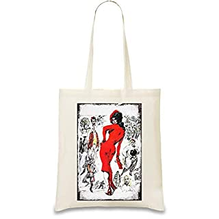 Amarcord Red Lady Custom Printed Tote Bag| 100% Soft Cotton| Natural Color & Eco-Friendly| Unique, Re-Usable & Stylish Handbag For Every Day Use| Custom Shoulder Bags By Design Things