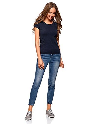 oodji Ultra Damen T-Shirt Basic aus Baumwolle (3-er Pack) Blau (7900N)