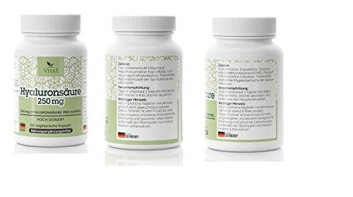 Hyaluronsäure Kapseln Anti-Falten Hautverjüngung – hochdosiert 250mg • 60 Kapseln (2 Monatsvorrat) • Vegan • Hergestellt in Deutschland - 3