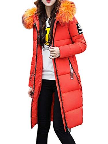 OranDesigne Damen Winterjacke Wintermantel Lange Warme Winter Mantel Dicke Daunenjacke Parka Winter Warm Outwear Jacke Langer Gerader Mantel Mit Kapuze Orange DE 44