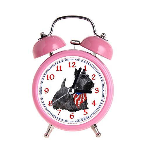 PAEEG Kinder Wecker Vintage Retro Silent Pointer Uhren Runde Nummer Dual Bell Loud Pink Wecker Nacht Nachtlicht Home Dekore Americana Scotty Dog Watch