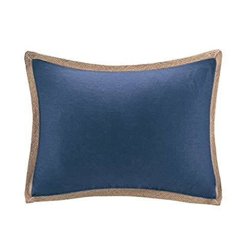 Madison Park Linen With Jute Trim Oblong Pillow Navy 14x20 by Madison Park