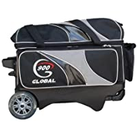 900 Global 2-Ball Deluxe Roller Bowling Bag, Black/Gray by 900 Global