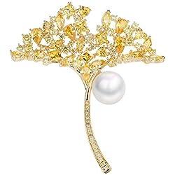 Circlefly Temperamento de lujo cristal hoja broche perla capa capa cien mantón de la señora con accesorios circón
