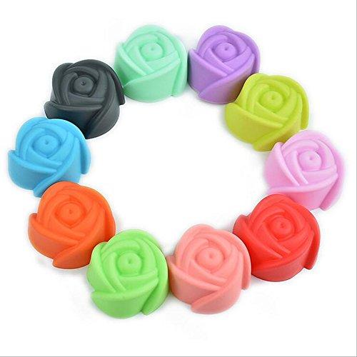 Wonque Silikonform für Fondant, Kuchen, Süßigkeiten, Rosen, Muffins, 5 x 5 x 2,4 cm, 10 Stück Rose Muffin