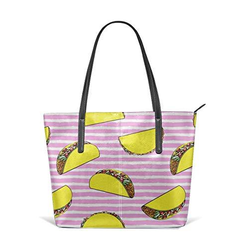 Women's Soft Leather Tote Shoulder Bag Tacos On Pink Stripes CBS Fashion Handbags Satchel Purse - Stripe Zip Satchel