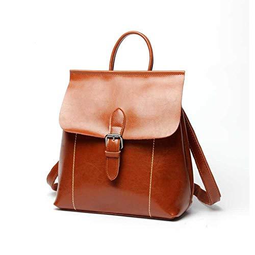 Koreanische Version von Öl Wachs Leder Damen Rucksack multifunktionale Modetrend Handtaschen Rucksack Rucksack