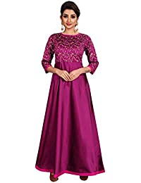 da8c6d39b8 Radhe Creation Purple Silk Embroderied Design Women s Anarkali Gown Dress