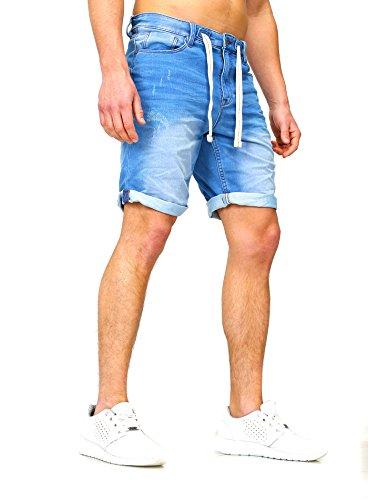 Sweat Jeans Denim Jogger Shorts Sommer Kurze Hose Sublevel 98-86 dunkelblau hellblau W30