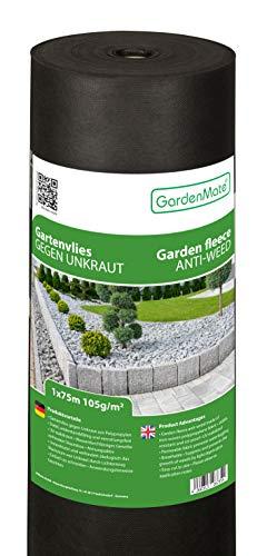 GardenMate 1mx75m Rolle 105g/m² Premium Gartenvlies - Unkrautvlies Extrem Reißfestes Unkrautschutzvlies - Hohe UV-Stabilisierung - Wasserdurchlässig - 1mx75m=75m²