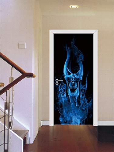 Feuer Schädel Scary Pattern Halloween Home Dekoration Poster Aufkleber Selbstklebend Abnehmbare Home Tür Aufkleber 77x200cm ()